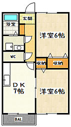 滋賀県大津市坂本2丁目の賃貸マンションの間取り