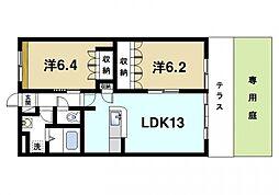 奈良県奈良市四条大路4丁目の賃貸アパートの間取り