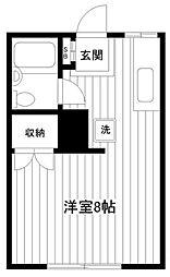 神奈川県横浜市保土ケ谷区常盤台の賃貸アパートの間取り