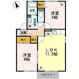 JUN HOUSE B棟[2階]の間取り