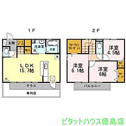 [一戸建] 徳島県徳島市住吉5丁目 の賃貸【/】の間取り