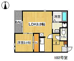 福岡県福岡市城南区別府1丁目の賃貸アパートの間取り