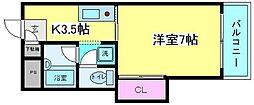 大阪府大阪市住吉区遠里小野7丁目の賃貸マンションの間取り