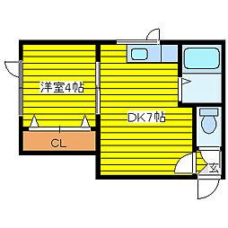 北海道札幌市東区北四十四条東13丁目の賃貸アパートの間取り