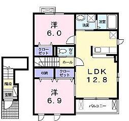 香川県丸亀市土器町東4丁目の賃貸アパートの間取り