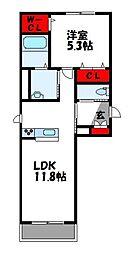 コンフォートハウス 2階1LDKの間取り