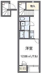 西武池袋線 東久留米駅 徒歩27分の賃貸アパート 2階1Kの間取り
