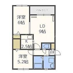 北海道札幌市東区北二十条東16丁目の賃貸マンションの間取り
