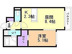 仮)厚別中央4-2MSIII 2階1LDKの間取り