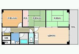 ロイヤルパレス藤井寺[3階]の間取り