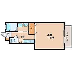 近鉄生駒線 菜畑駅 徒歩7分の賃貸アパート 1階1Kの間取り