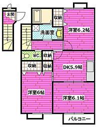 広島県安芸郡熊野町萩原7丁目の賃貸アパートの間取り