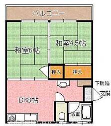 大阪府枚方市牧野阪1丁目の賃貸マンションの間取り