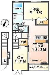 みやこ乃杜富士 2階2LDKの間取り