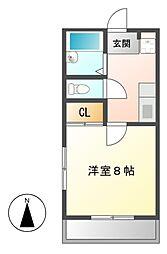 愛知県名古屋市中村区砂田町1の賃貸アパートの間取り