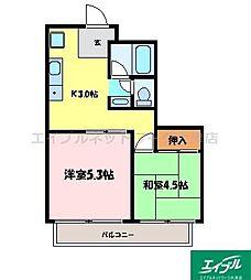 滋賀県大津市桜野町2丁目の賃貸アパートの間取り