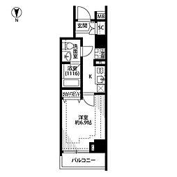 プレール・ドゥーク新宿下落合 9階1Kの間取り