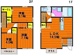 [一戸建] 岡山県岡山市南区あけぼの町 の賃貸【/】の間取り