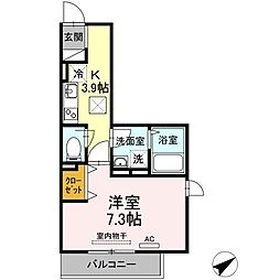 JR山陽本線 福山駅 徒歩35分の賃貸アパート 1階1Kの間取り