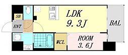 ファステート難波グランプリ 3階1LDKの間取り