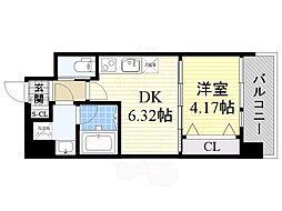 プレジオ江坂2 10階1DKの間取り
