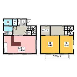 鈴木戸建 2階2LDKの間取り