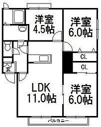 ウィンディアI[2階]の間取り