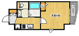 エステムコート神戸山手ステーションデュオ 8階1Kの間取り
