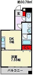 フォレストビュー 2階1DKの間取り