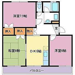野知マンションB[2階]の間取り