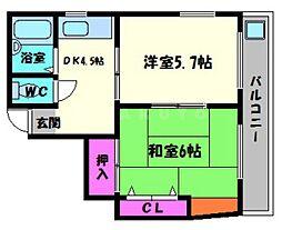 KBハイツ[2階]の間取り