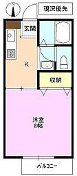 長野県長野市中越1丁目の賃貸アパートの間取り