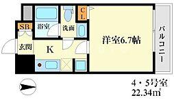 ハピネス江坂[6階]の間取り