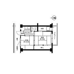 ビレッジハウス久保1号棟4階Fの間取り画像