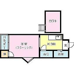 福岡県北九州市小倉南区葉山町2丁目の賃貸アパートの間取り