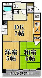 ハイコート甲子園[2階]の間取り