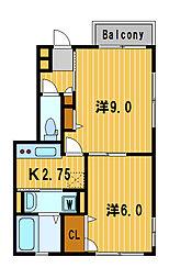 神奈川県横浜市栄区笠間1丁目の賃貸アパートの間取り