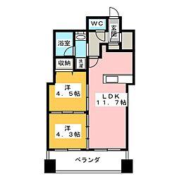 エミリブ東長崎 9階2LDKの間取り
