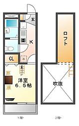 レオパレスグローリア[1階]の間取り