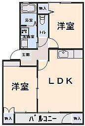 ステージ6 D棟 2階2LDKの間取り