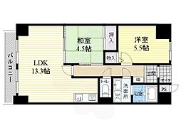 阪急千里線 南千里駅 徒歩15分の賃貸マンション 2階2LDKの間取り