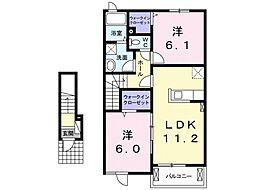 シャリテII[2階]の間取り