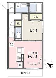 小田急小田原線 伊勢原駅 徒歩6分の賃貸アパート 1階1LDKの間取り