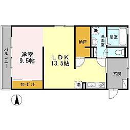 クレールメゾン中田[2階]の間取り