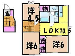愛媛県松山市愛光町の賃貸アパートの間取り