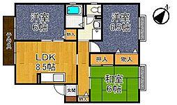 甲子園クレセントハウス[101号室]の間取り
