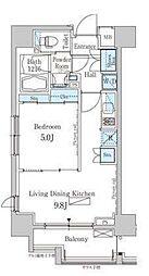 新交通ゆりかもめ 芝浦ふ頭駅 徒歩8分の賃貸マンション 4階1LDKの間取り