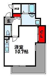 LUXE ONE 2階ワンルームの間取り
