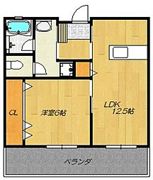 カーサオットIII 3階1LDKの間取り