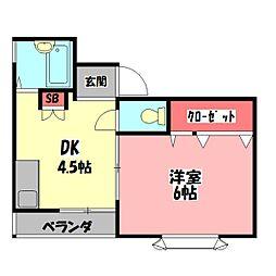ジュノ藤田 3階1DKの間取り